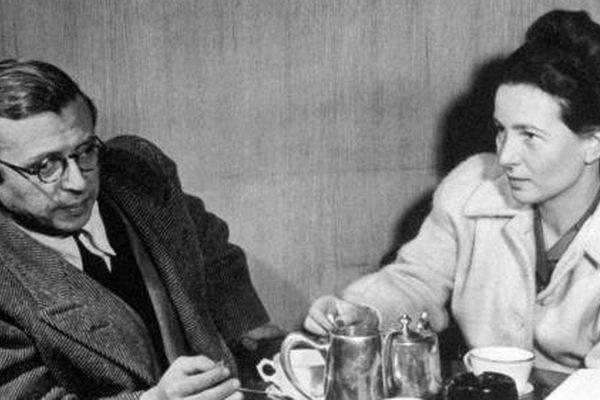 Jean-Paul Sartre and Simone de Beauvoir in an undated photo.