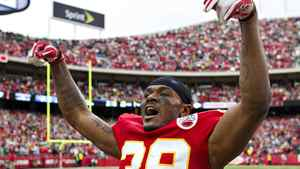 Brandon Carr #39 of the Kansas City Chiefs celebrates after a win against the Green Bay Packers at Arrowhead Stadium on December 18, 2011 in Kansas CIty, Missouri. The Chiefs defeated the Packers 19-14. (Photo by Wesley Hitt/Getty Images)