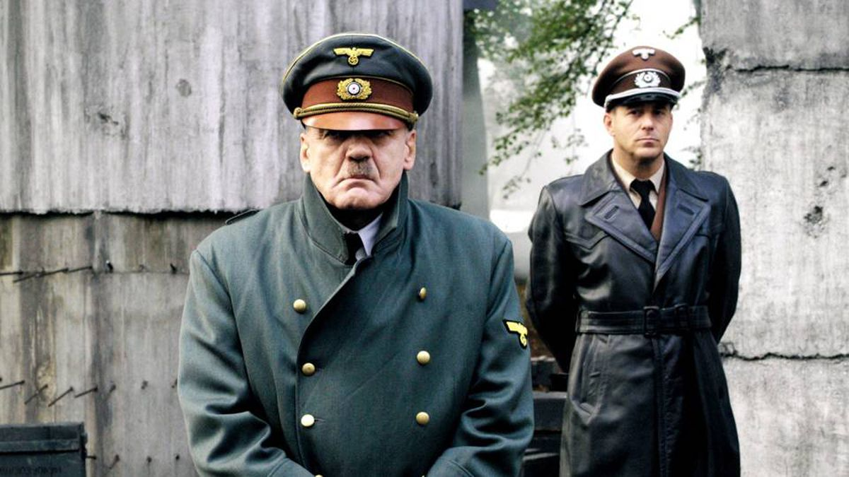"""Swiss actor Bruno Ganz as Adolf Hitler, left, and Heino Ferch as Albert Speer are seen as Adolf Hitler in the movie """"Der Untergang"""" (The Downfall). The film, which narrates Hitler's final days, has spawned hundreds of parody videos that publishing studio Constantin Film is seeking to have removed."""