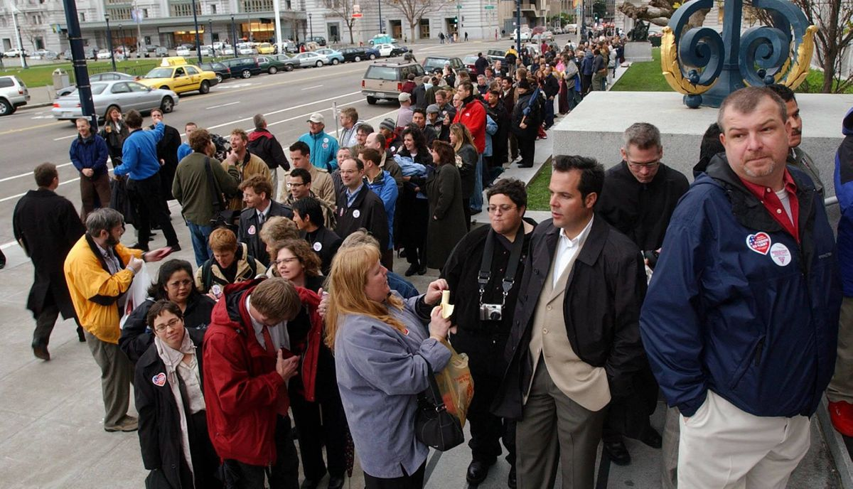 For one month, San Francisco issued marriage licenses to over 4000 same-sex couples (compared to 103 licenses for heterosexual couples) Couples wait in line to be married outside City Hall in San Francisco on Tuesday, Feb. 17, 2004.
