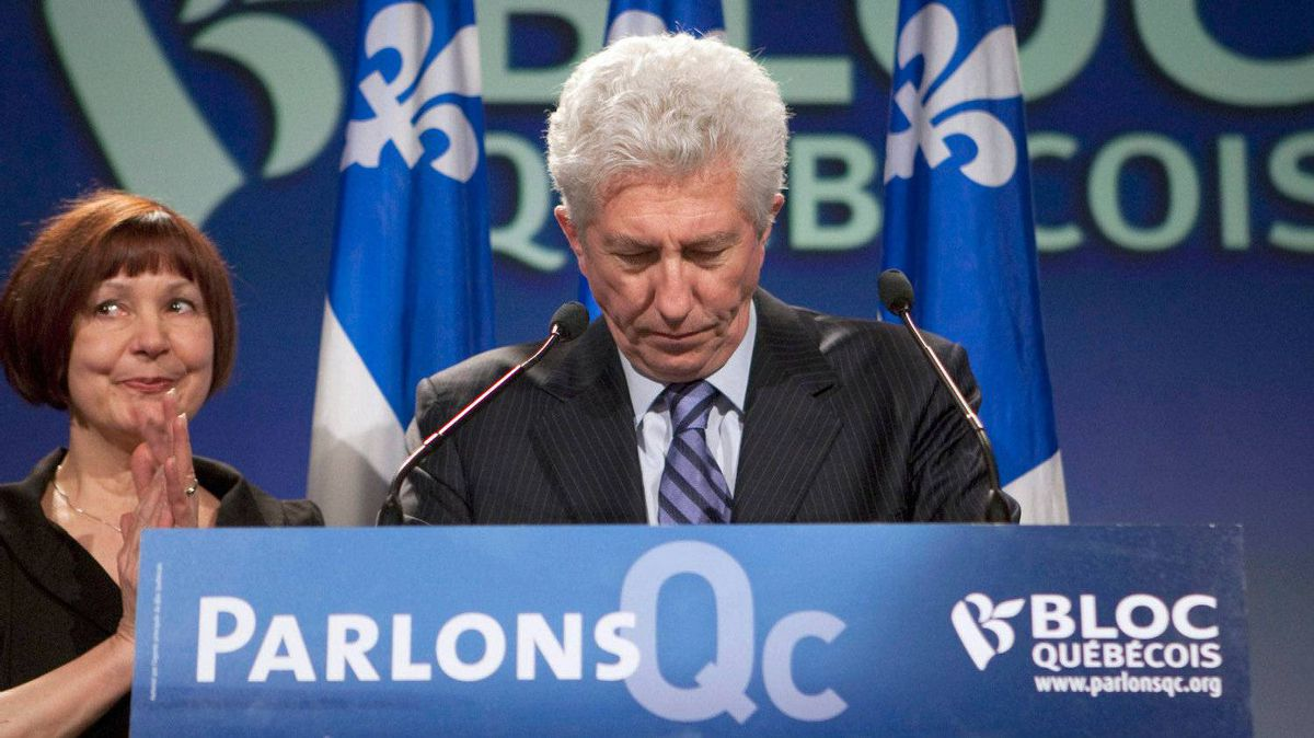 Bloc Quebecois Leader Gilles Duceppe announces his resignation on May 2, 2011.