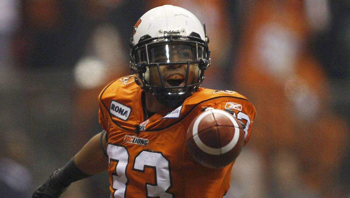 B.C. Lions running back Andrew Harris celebrates his first half touchdown against the Winnipeg Blue Bombers.
