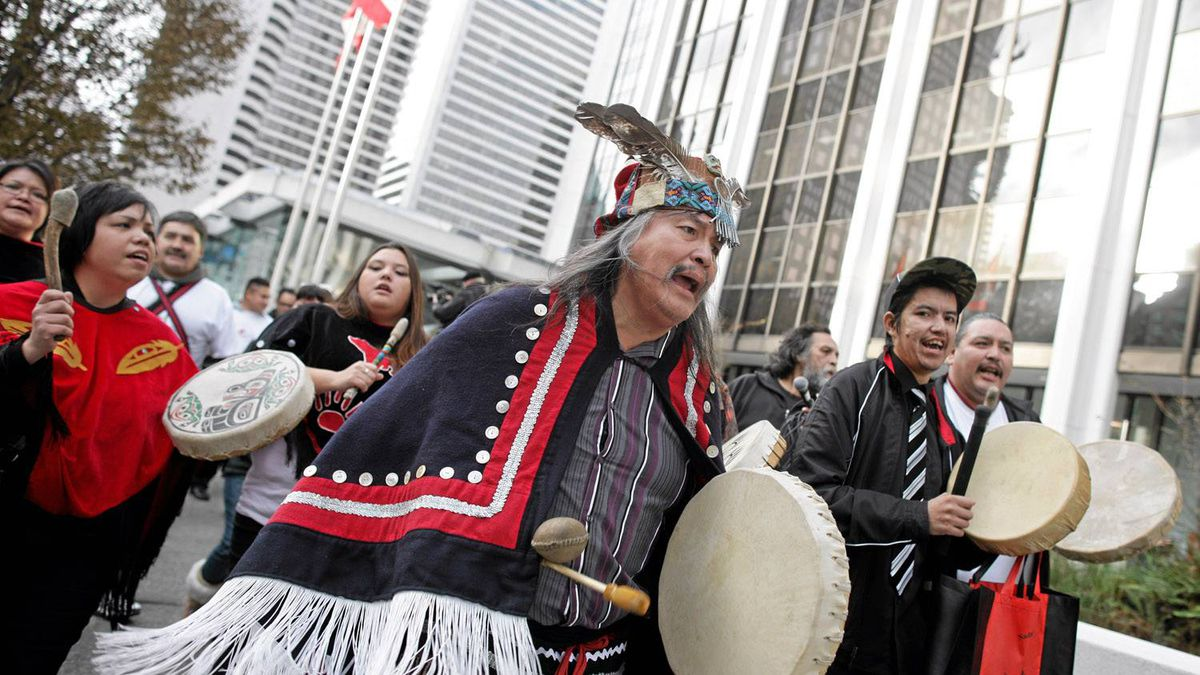 Native protestors march to Enbridge headquarters in Vancouver on December 2nd, 2010. In an unprecedented alliance, 61 Indigenous Nations have come together to declare their opposition to the proposed Northern Gateway Pipeline.