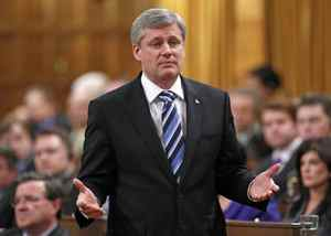 Prime Minister Stephen Harper speaks during Question Period in the House of Commons on April 20, 2010.