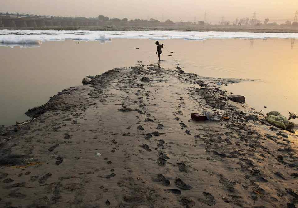 A boy searches for coins thrown by Hindu devotees in the waters of the river Yamuna during early morning in New Delhi May 15, 2012.