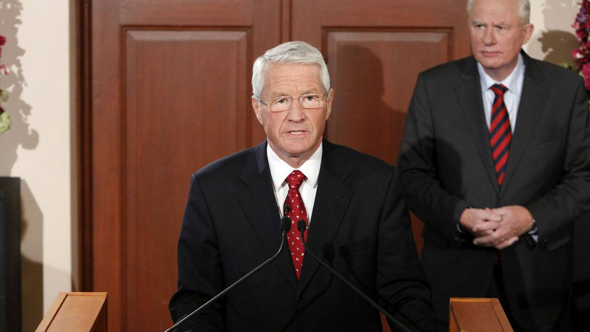The chairman of the Norwegian Nobel Committee Thorbjoern Jagland announces the winner of the Nobel Peace Prize for 2010 at the Nobel Institute in Oslo. Hakon Mosvold Larsen/AFP/Getty Images