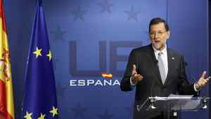 Spain's Prime Minister Mariano Rajoy holds a news conference at the end of a European Union leaders summit in Brussels on March 2, 2012.