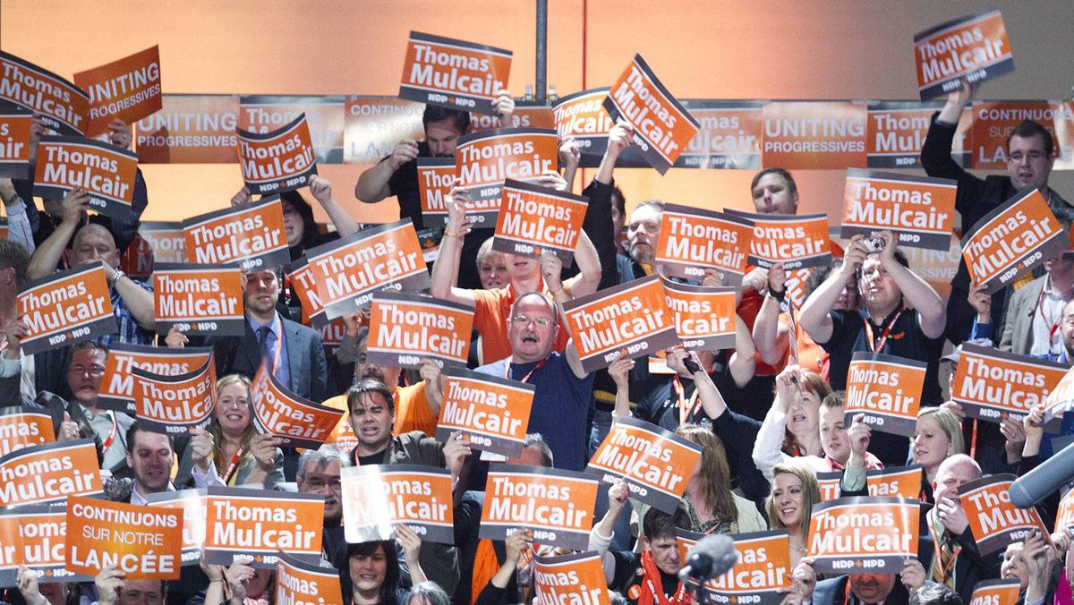 Thomas Mulcair supporters rally during the NDP leadership convention in Toronto on Saturday, March 24, 2012.