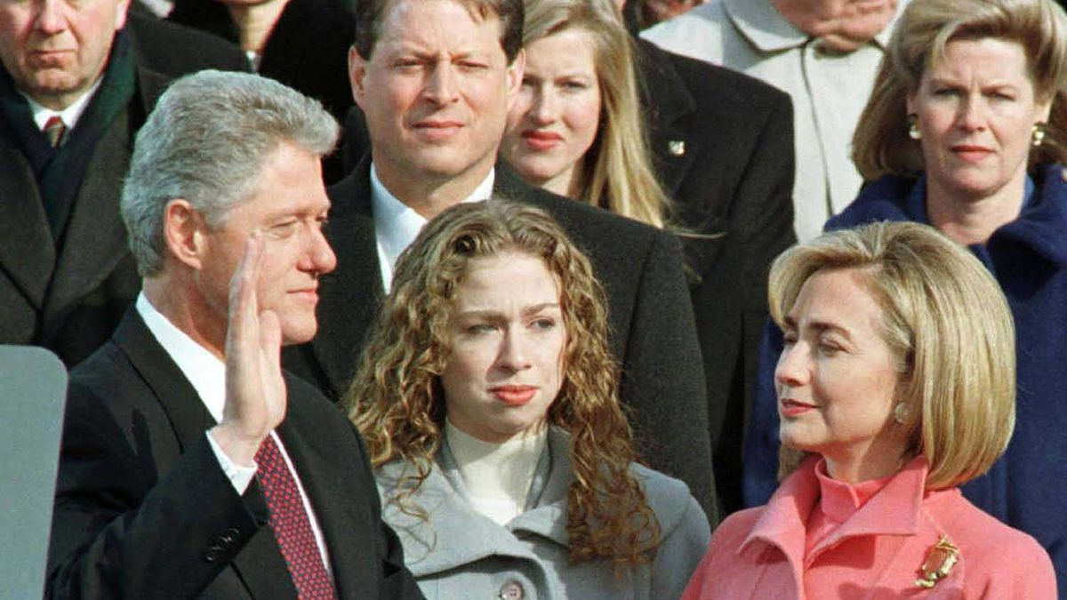 At husband Bill Clinton's second inauguration day in 1997, the first lady appeared with a serious case of helmet hair.