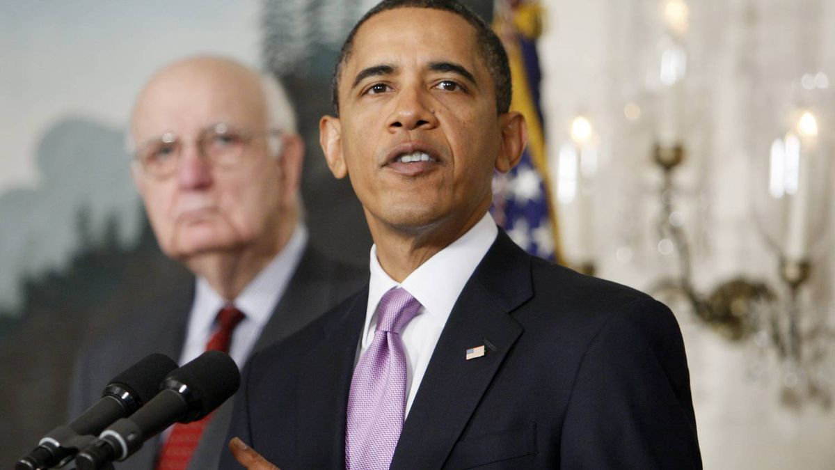 Economic Recovery Advisory Board Chair Paul Volcker looks on as U.S. President Barack Obama speaks about financial reform Thursday.