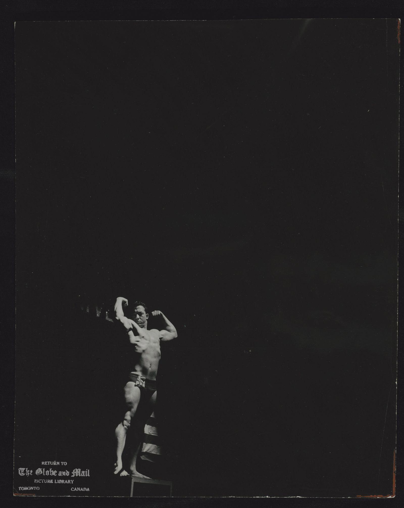 MR. CANADA CONTEST Mr. Universe Contest, Monument Nationale, Montreal, Feb. 1959 In the spotlight, Jeffrey Walling of Gravenhurst in the Mr. Canada Sr. Contest.