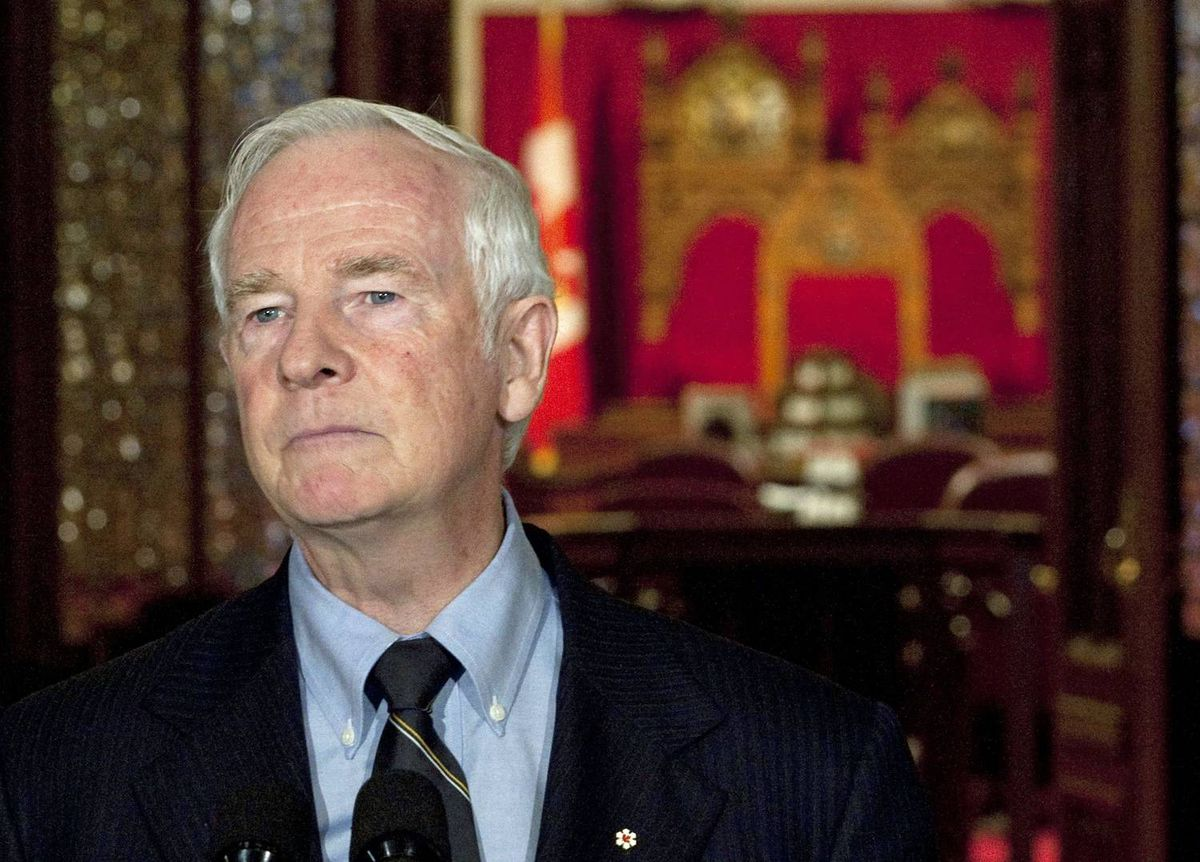 David Johnston makes brief remarks outside the Senate on July 8, 2010, after being named Canada's next governor-general.