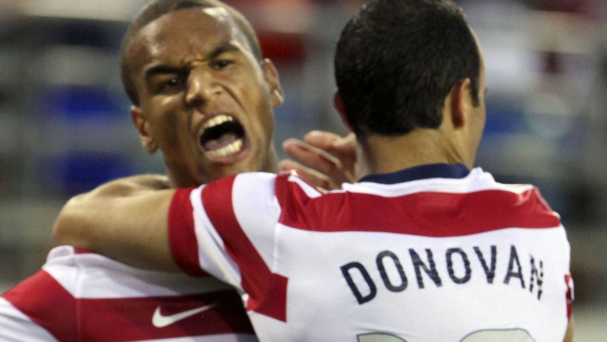 Landon Donovan (R) of the U.S. celebrates with teammate Terrence Boyd (L) after scoring against Scotland during their international friendly soccer match in Jacksonville, Florida May 26, 2012. REUTERS/Daron Dean