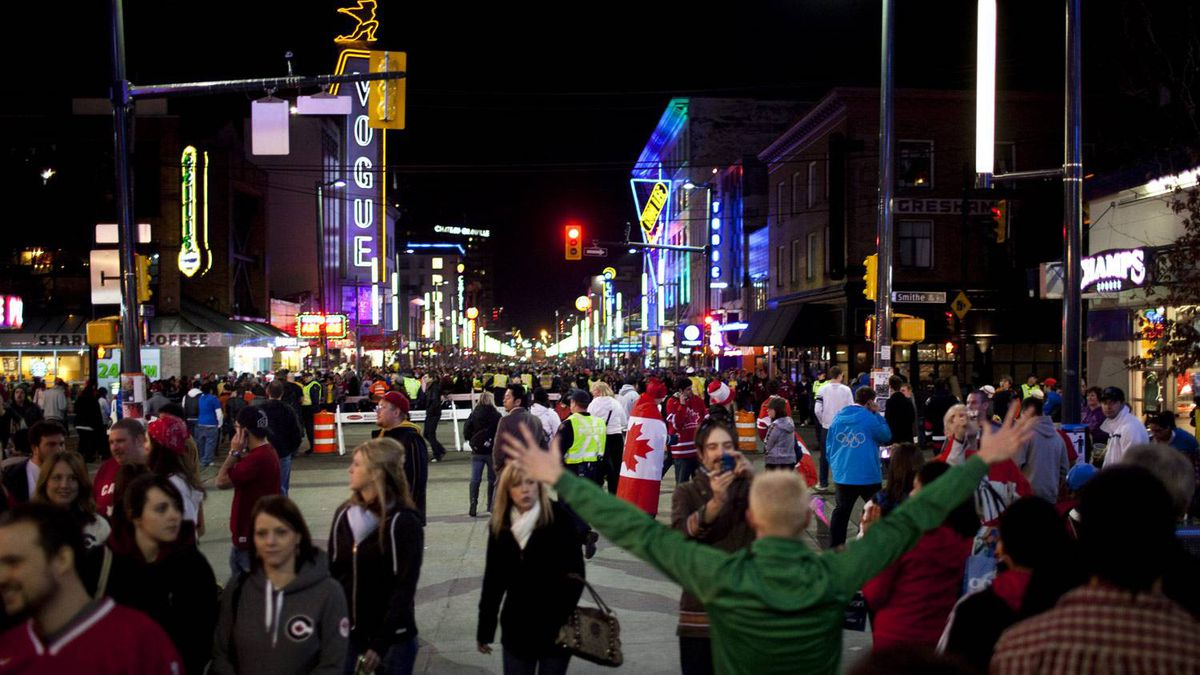 Granville Street has been jam-packed with visitors, buskers and entertainers during the Winter Games. Rafal Gerszak for The Globe and Mail