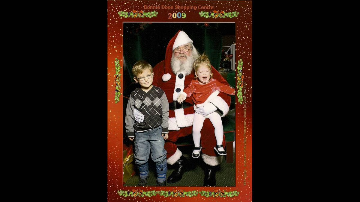 """Krista Gingrich photo: Everyone needs a """"perfect"""" santa photo. When my daughter looked at the picture this year, she said, """"Crying...shoes owie."""" Nothing to do with the man in the red suit!"""