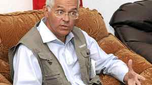 Canadian Ambassador to Afghanistan William Crosbie holds a meeting at Kandahar airfield on Sept. 9, 2009.