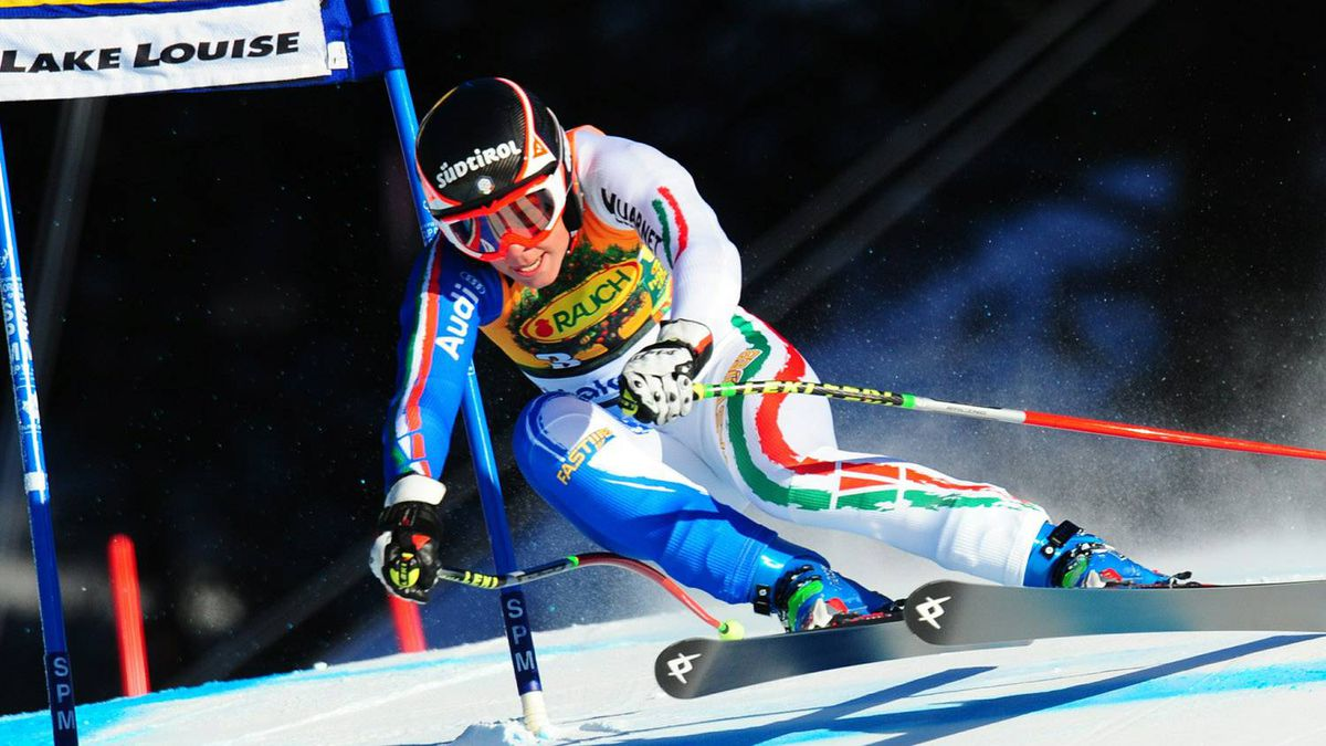 Italian skier Johanna Schnarf makes her way in the Women's Super G of the FIS Ski World Cup in Lake Louise, Canada, December 5, 2010. US skier Lindsey Vonn won the race in a time of 1:20.72, Germanys placed second and US Julia Mancuso finished third. Getty Images/Bill Halliwell