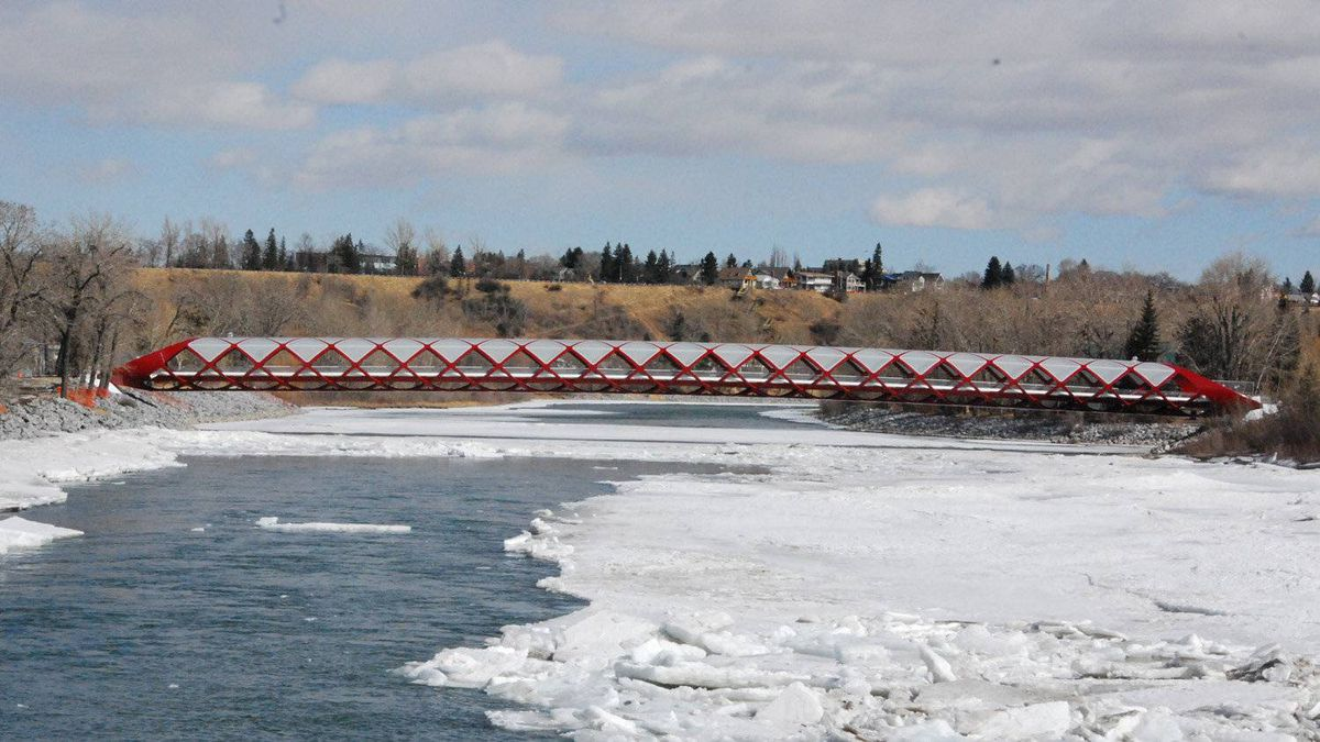 Opened on March 24, the Peace Bridge spans the Bow River in Calgary. It was designed by Santiago Calatrava, a Spanish architect.
