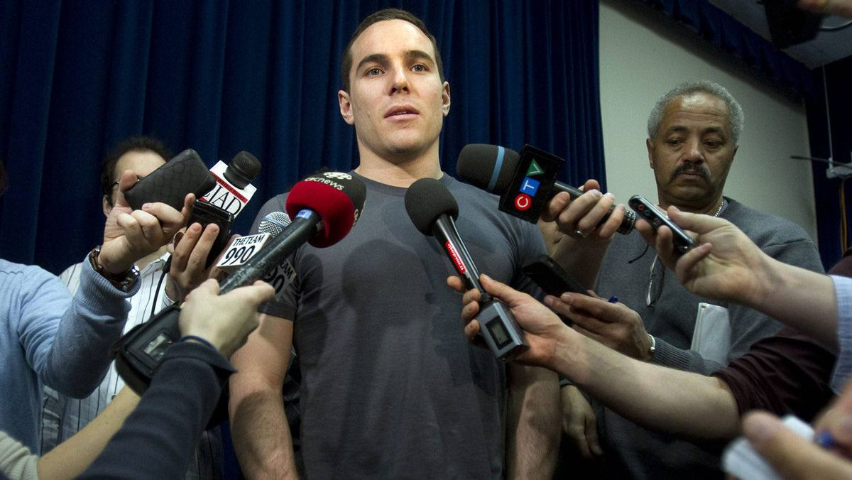Montreal Canadiens winger Mike Cammalleri speaks to reporters.