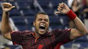 Jo-Wilfried Tsonga of France celebrates after defeating Mardy Fish of the United States during Day Eight of the 2011 US Open at the USTA Billie Jean King National Tennis Center on September 5, 2011 in the Flushing neighborhood of the Queens borough of New York City. (Photo by Nick Laham/Getty Images)