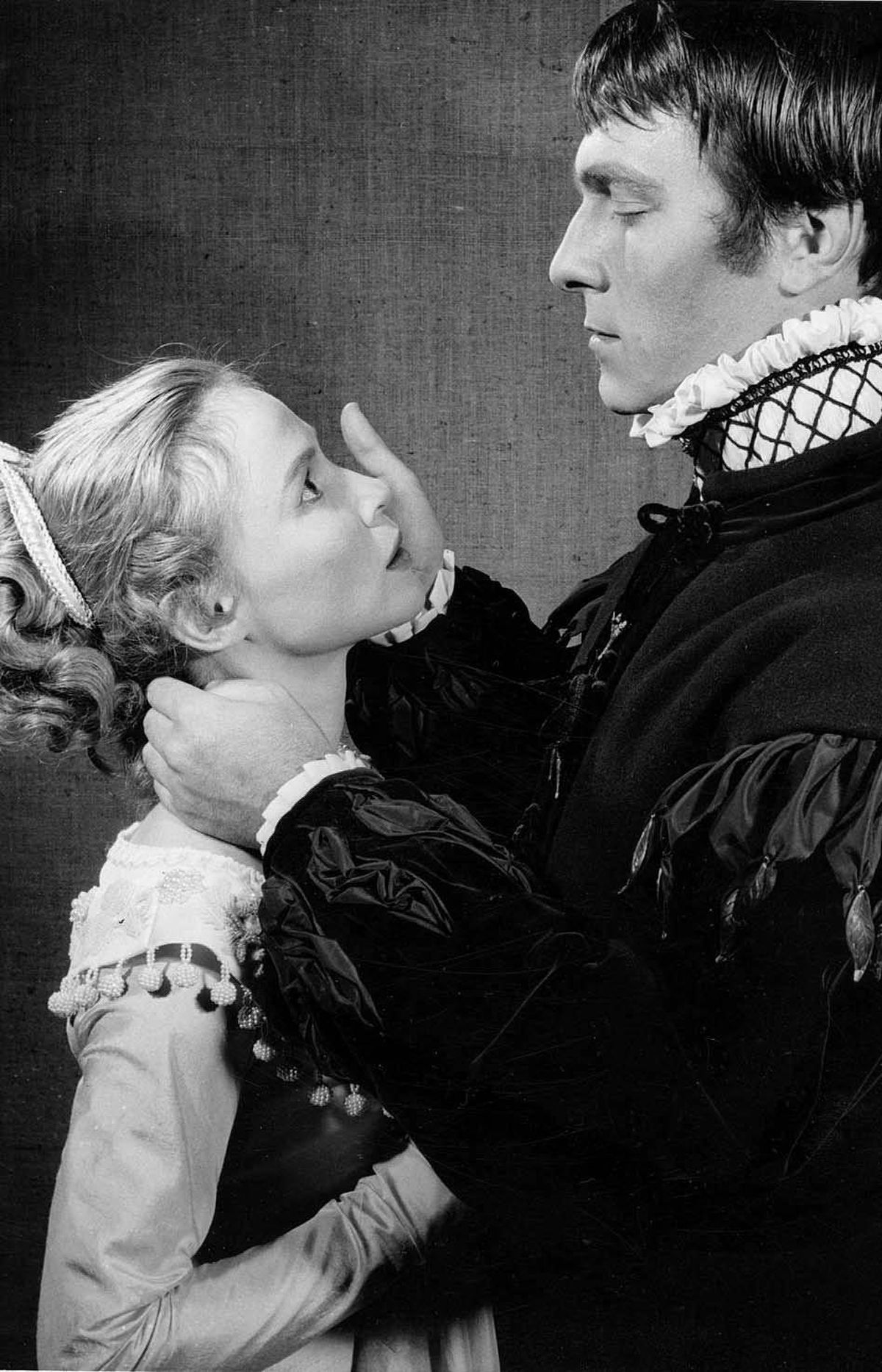 Christopher Plummer as Hamlet, right, in a 1957 Stratford production. The production also featured Frances Hyland as Ophelia.