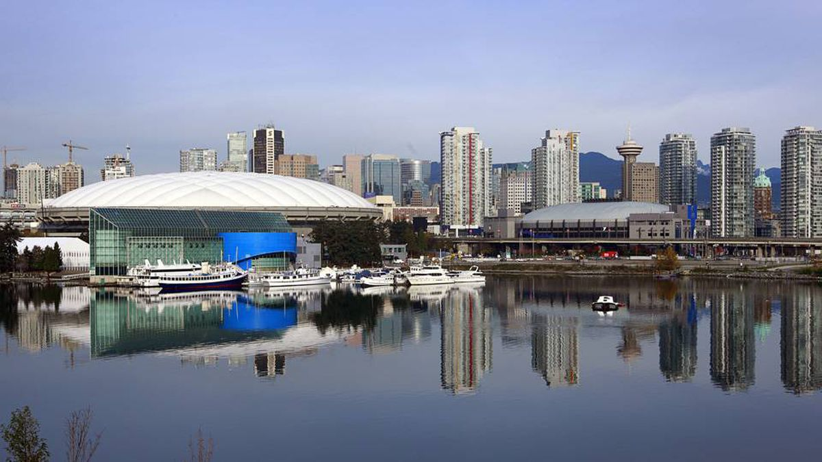 A view of downtown Vancouver showing False Creek, GM Place and BC Place November 4, 2009 in Vancouver, Canada.