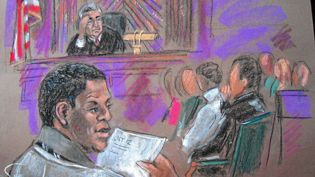 This Oct. 6, 2010 courtroom sketch shows defendant Ahmad Khalfan Ghailani, left, at his trial in New York.