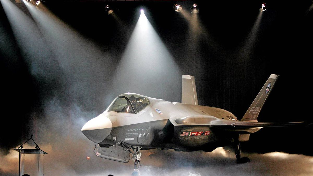 The Lockheed Martin Joint Strike Fighter is unveiled during a ceremony in Fort Worth, Texas,in this July 7, 2006 file photo.
