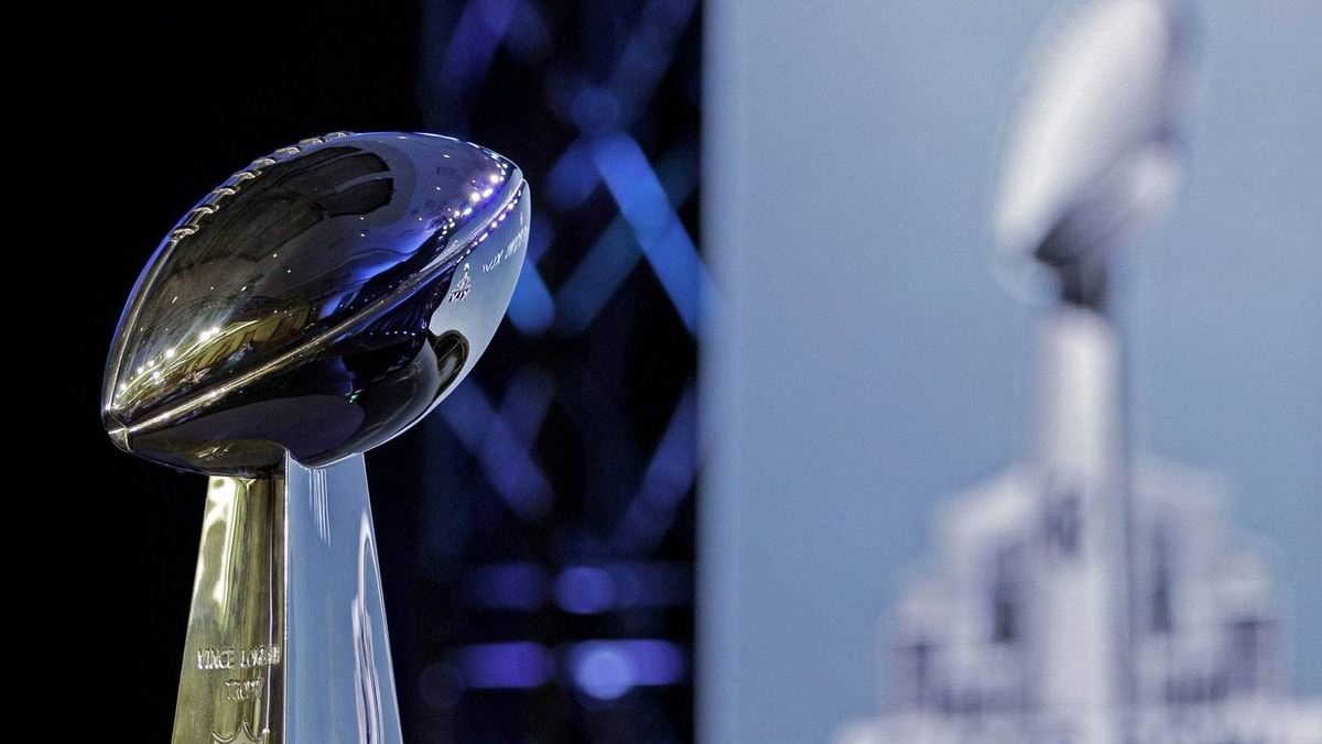 The Vince Lombardi Trophy is seen before a news conference for NFL football's Super Bowl XLVI Friday, Feb. 3, 2012, in Indianapolis.