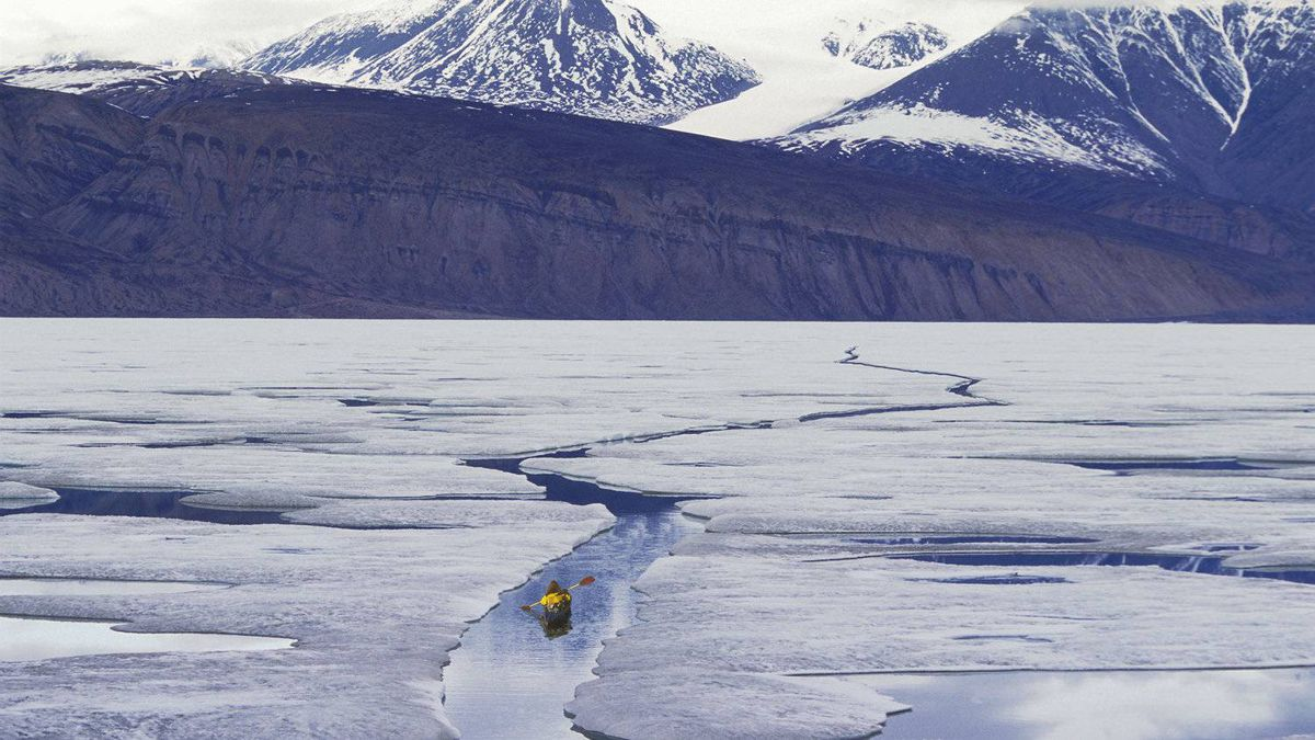 ... but soon the leads become too wide. This photo, of kayaking in the High Arctic, can take a lot of advance planning.
