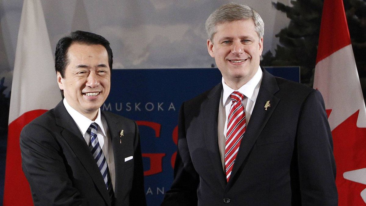 Prime Minister Stephen Harper, right, and Japanese Prime Minister Naoto Kan at the G8 Summit in Huntsville, Ont., in 2010.