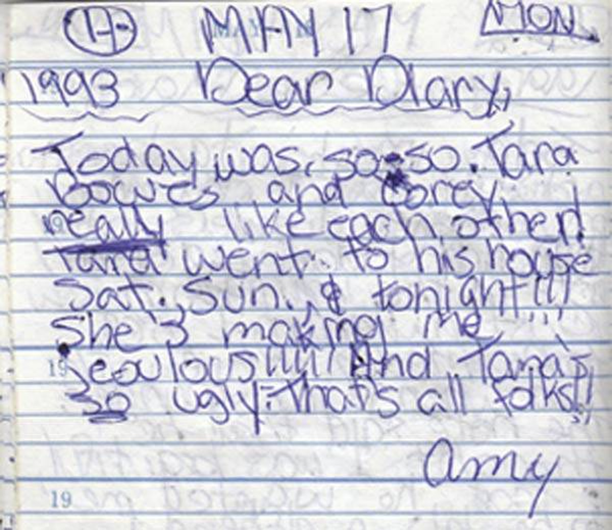 A page of the diary Amy White kept when she was 11, which she has scanned and posted online: 'What's the point of having this diary if I'm not going to show it to the world?'