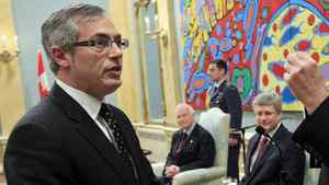 Tony Clement is sworn in as Treasury Board Presdient during a ceremony at Rideau Hall on May 18, 2011.