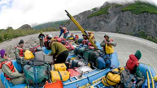Heavy packing is needed for a two week raft journey down the Alsek River in Canada's North.