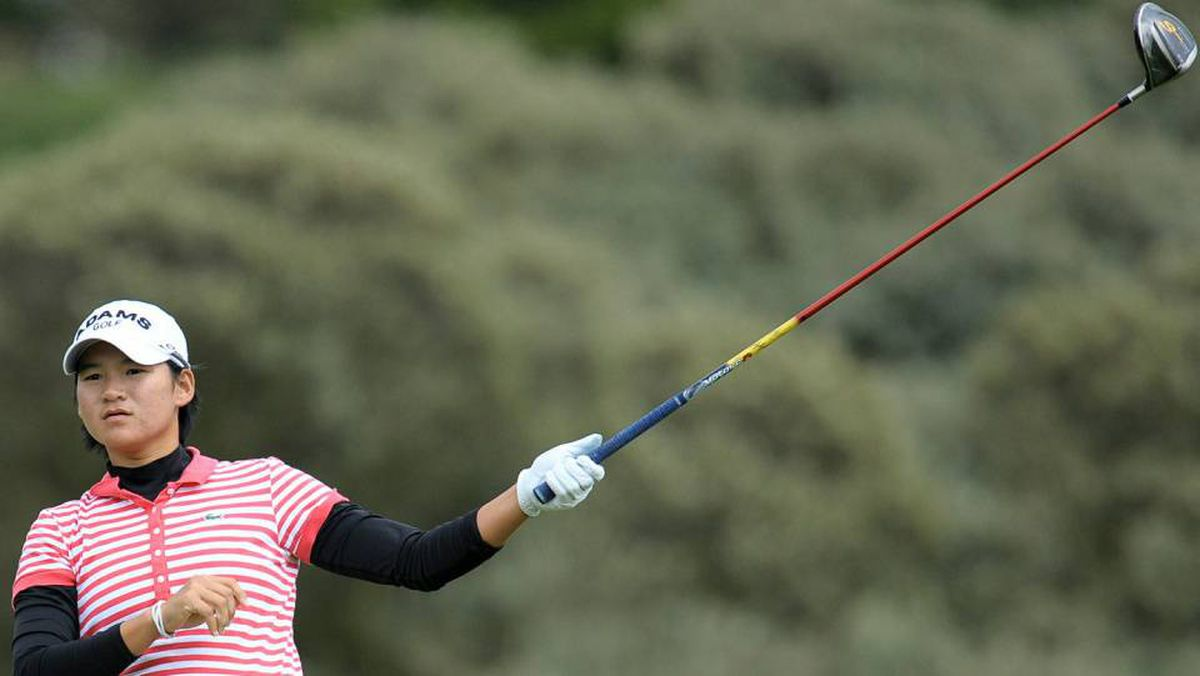 Overnight leader Yani Tseng of Taiwan drives on the second tee during the third round of the Ricoh Women's British Open golf championship at the Royal Birkdale Golf Club in Southport, England, on July 31 2010.