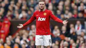 Manchester United's Wayne Rooney reacts in Manchester, northern England, May 6, 2012.
