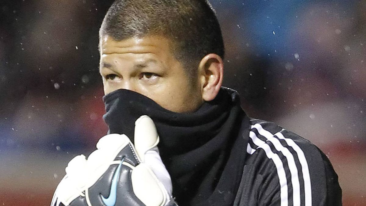 Goalie Nick Rimando #18 of Real Salt Lake tries to keep warm during a game against the Colorado Rapids during the second half of an MLS soccer game April 13, 2010 at Rio Tinto Stadium in Sandy, Utah. Real beat Colorado 1-0. (Photo by George Frey/Getty Images)