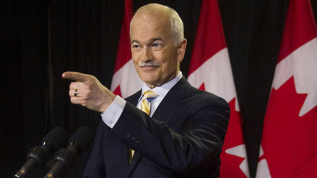NDP Leader Jack Layton fields a question at a press conference in Toronto on May 3, 2011.