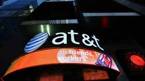 An AT&T retail store is shown in New York's Times Square.