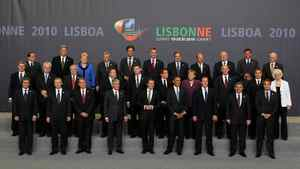 The leaders of NATO's member countries gather for a portrait at the two-day NATO Summit 2010 in Lisbon, Portugal.
