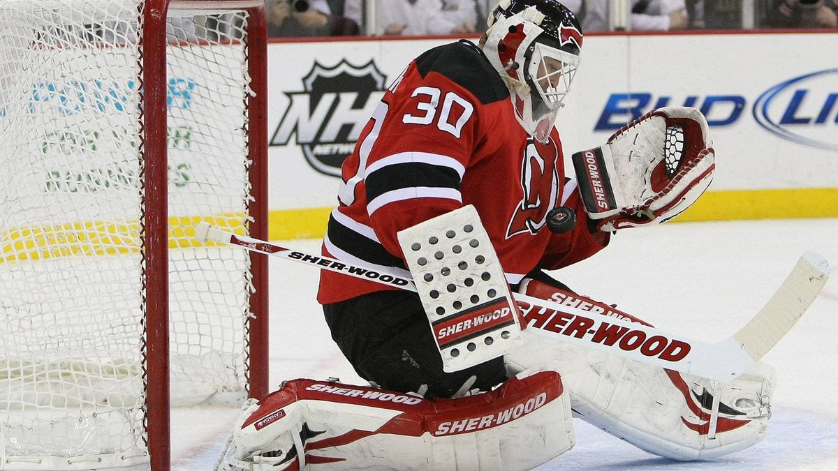 New Jersey Devils goalie Martin Brodeur makes a save on New Year's Eve 2011.
