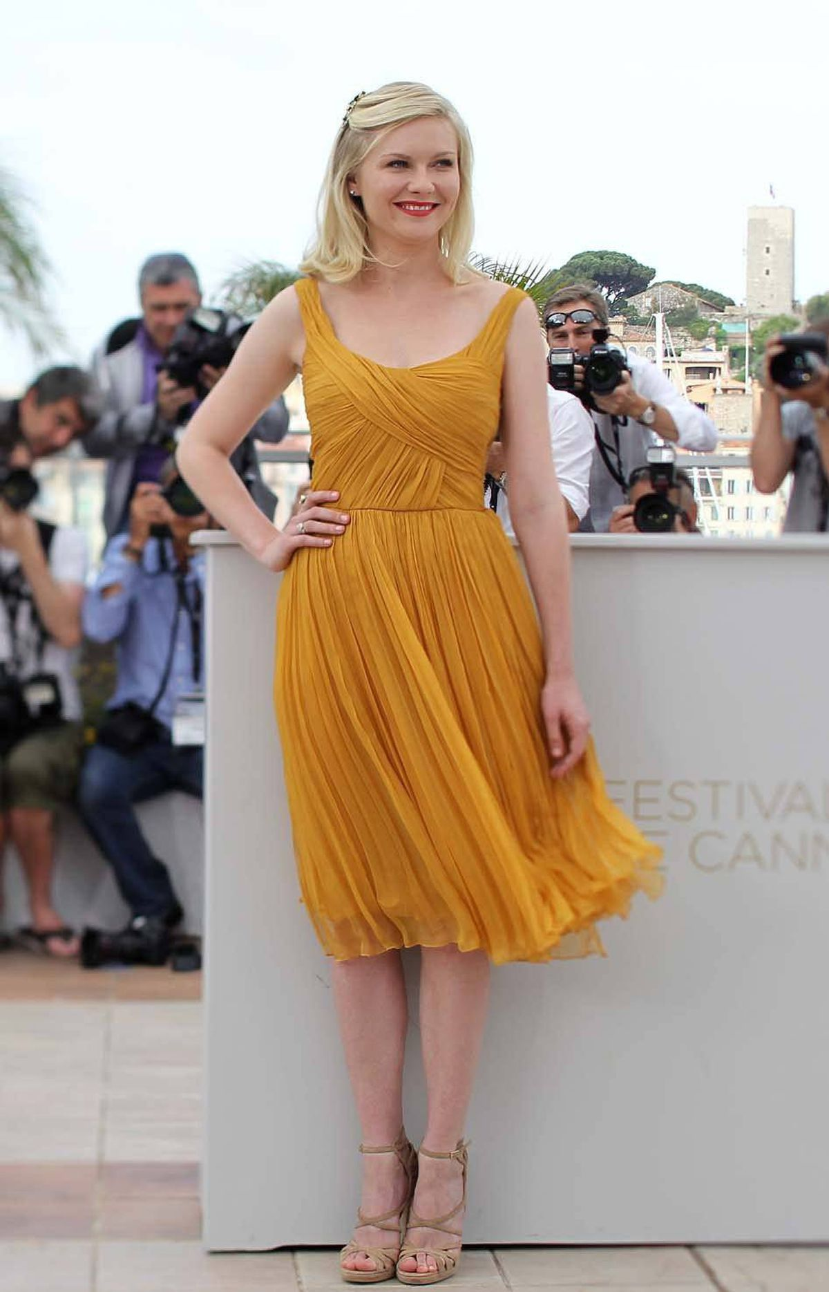 """Kirsten Dunst at the photo call for the new Lars Von Trier movie """"Melancholia"""" at the Cannes Film Festival on Wednesday."""
