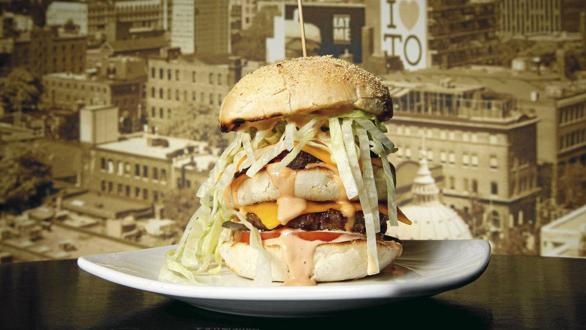The Big Zack, M:burger, Montreal: two patties, 2 slices of cheese, spicy fancy sauce, chopped onions, pickle, tomato and lettuce.