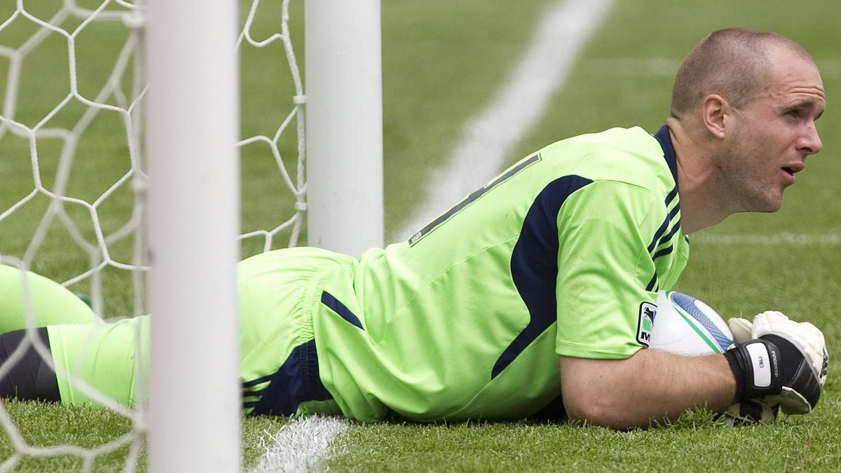 Toronto FC's goalkeeper Stefan Frei reacts as he stops the ball just short of the line after a fumble during second half MLS action during his team's 6-2 defeat to Philadelphia Union in Toronto on Saturday May 28, 2011. THE CANADIAN PRESS/Chris Young