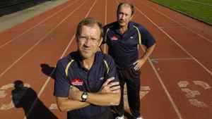 Brooks founders Mike Dyon, left and his brother Paul are photographed at Centennial Park in Etobicoke, Ont. Sept. 17/2007. Brooks Canada are sponsoring a $1.5 million project that is bringing the country's top runners together to train for the next 5-6years.