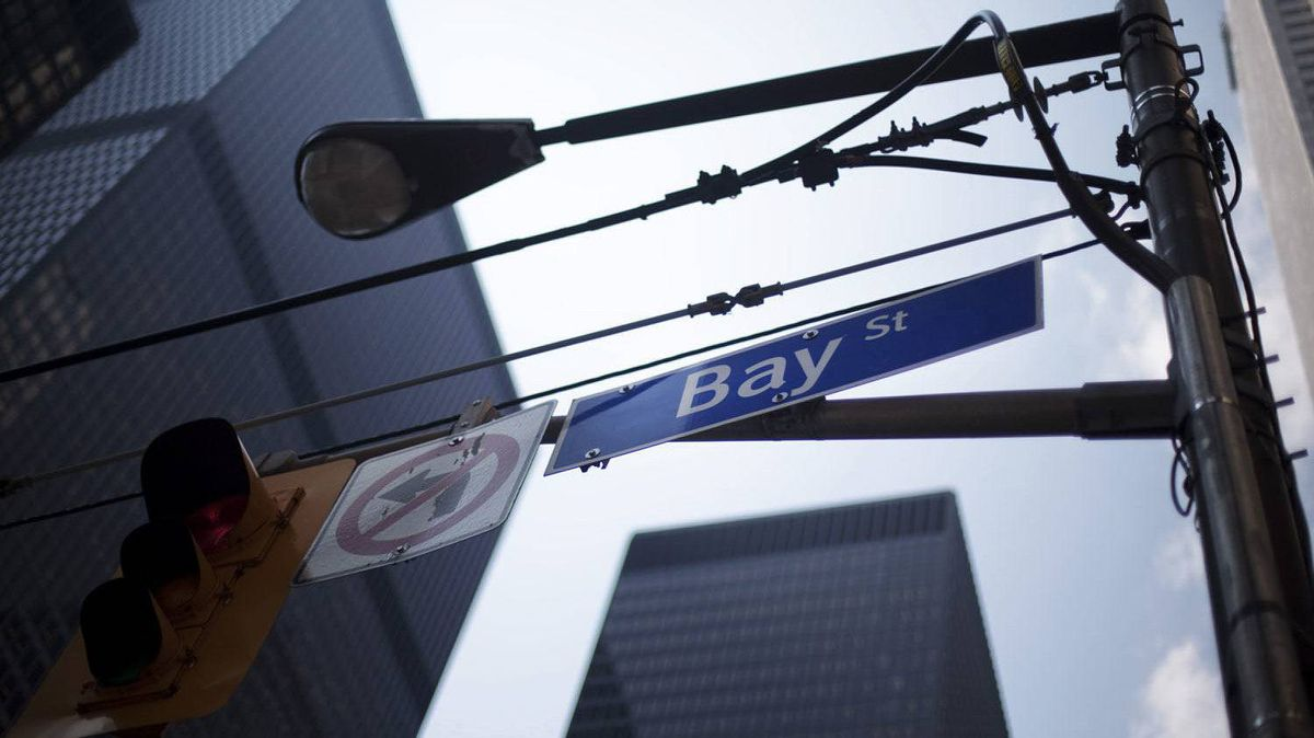 A Bay Street sign in the heart of the financial district in Toronto.