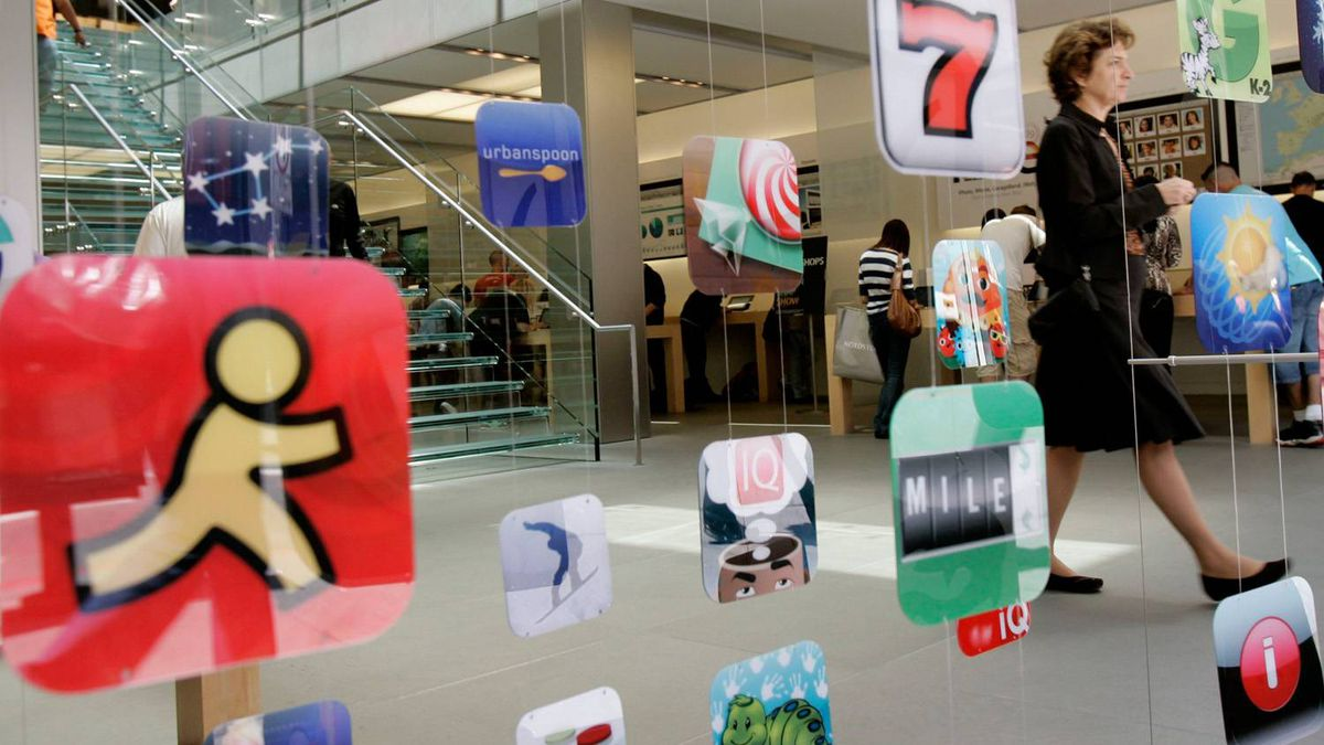 Icons for Apple applications at the company's retail store in San Francisco, California in this April 22, 2009 file photo.