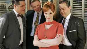 Christina Hendricks, middle, as Joan Holloway Harris in AMC's Mad Men.