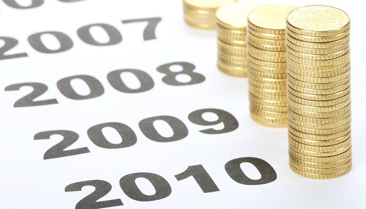 Coins and 2010 2009 2008. iStockphoto