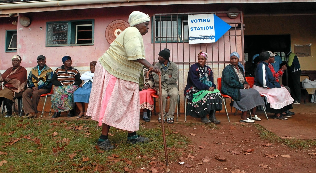A woman arrives to vote in the township of Inanda in South Africa on Wednesday, May 18.